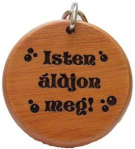 Kulcstartó, fa, kerek (Isten áldjon)
