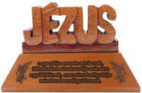 Asztali dísz, fa, betűs (JÉZUS)