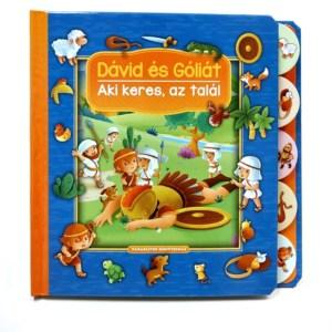 Dávid és Góliát - Aki keres, az talál lapozó-könyv, betűolvasás, képolvasás, keresgélés, szóképek, bibliai történet, olvasástanulás, olvasásélmény, 2-7 éveseknek, böngésző